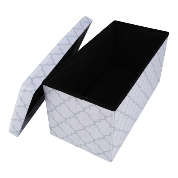 Taburet pliabil KABALA, material textil alb/gri - Expomob 4