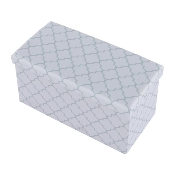 Taburet pliabil KABALA, material textil alb/gri - Expomob 2