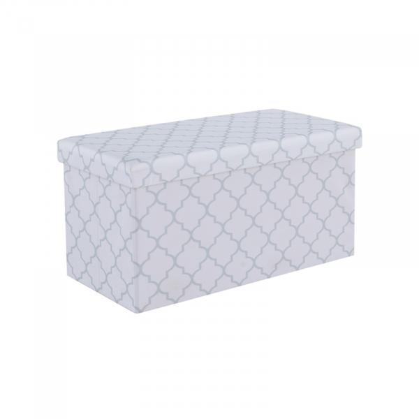 Taburet pliabil KABALA, material textil alb/gri - Expomob 0