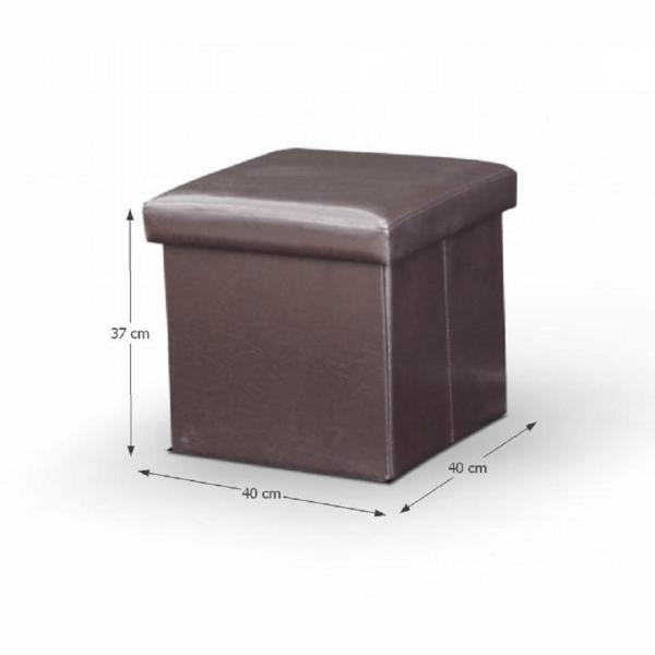 Taburet pliabil TELA NEW cu spaţiu stocare, piele ecologica - Expomob 10