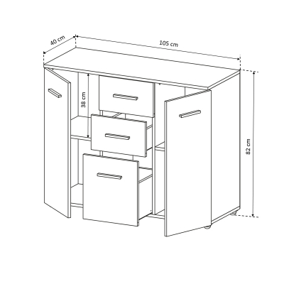 Comoda Alma cu 2 usi si 3 sertare - ExpoMob [4]