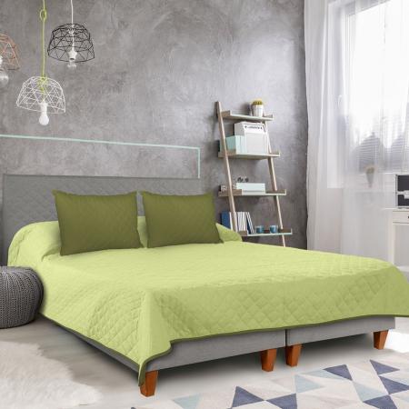 Cuvertura matlasata cu 2 fete, microfibra, 210x220 cm, Olive & Lime5
