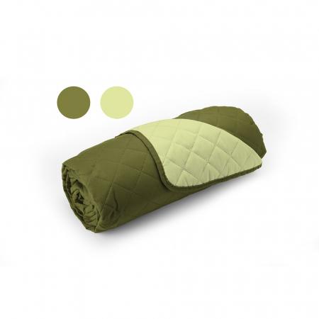 Cuvertura matlasata cu 2 fete, microfibra, 210x220 cm, Olive & Lime2