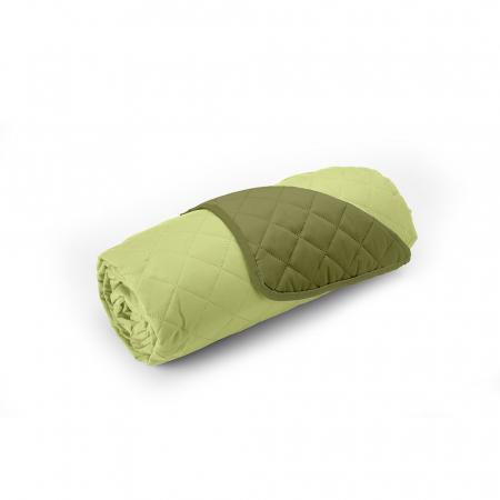 Cuvertura matlasata cu 2 fete, microfibra, 210x220 cm, Olive & Lime3