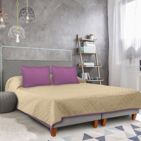 Cuvertura matlasata cu 2 fete, microfibra, 210x220 cm, Purple & Vanila - ExpoMob [5]