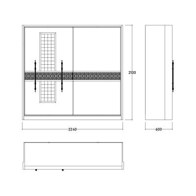 Set Dormitor ABELYA, Pat 160X200 cu somieră și spațiu depozitare, 5 piese10