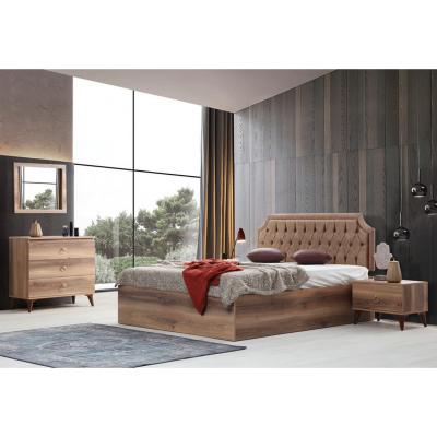 Set Dormitor ABELYA, Pat 160X200 cu somieră și spațiu depozitare, 5 piese1