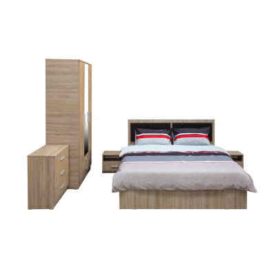 Set Dormitor OFELIA, Dulap 3 usi, Pat 160x200 cu sertar, 2 noptiere si comoda1