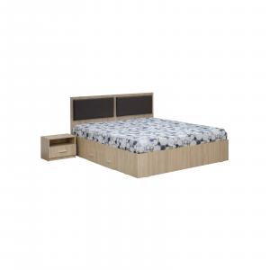 Dormitor complet OFELIA, Dulap 4 usi, Pat 160x200 cu Tablie tapitata si sertar, 2 noptiere si comoda 3S2