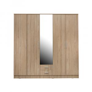 Dormitor complet OFELIA, Dulap 5 usi, Pat 160x200 cu Tablie tapitata si sertar, 2 noptiere si comoda 3S1