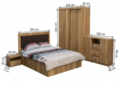 Dormitor complet SOFIA, Dulap usi glisante ECO L-150, Pat cu tablie tapitata, 2 noptiere si comoda TV2