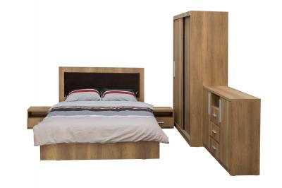 Dormitor complet SOFIA, Dulap usi glisante ECO L-150, Pat cu tablie tapitata, 2 noptiere si comoda TV1