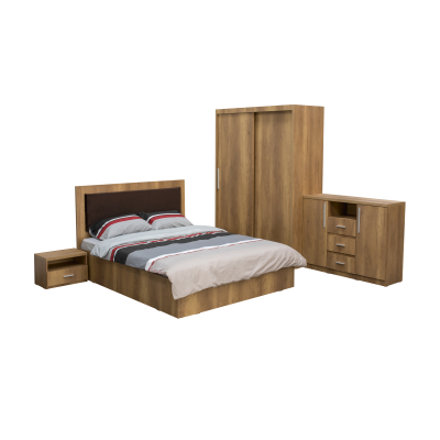 Dormitor complet SOFIA, Dulap usi glisante ECO L-150, Pat cu tablie tapitata, 2 noptiere si comoda TV0