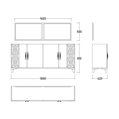 Set Dormitor DREAM, Pat tapitat 160X200 cu somieră și spațiu depozitare, 5 piese11