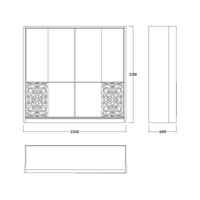Set Dormitor DREAM, Pat tapitat 160X200 cu somieră și spațiu depozitare, 5 piese8