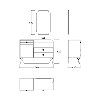 Set Dormitor EYMIR, Pat tapitat 160X200 cu somieră și spațiu depozitare, 6 piese14