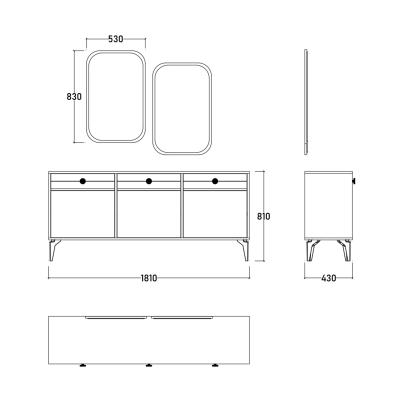 Set Dormitor EYMIR, Pat tapitat 160X200 cu somieră și spațiu depozitare, 6 piese12