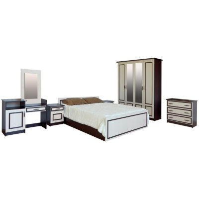 Set Dormitor Kim Wenge / Mesteacan  complet cu masa de toaleta - ExpoMob [0]