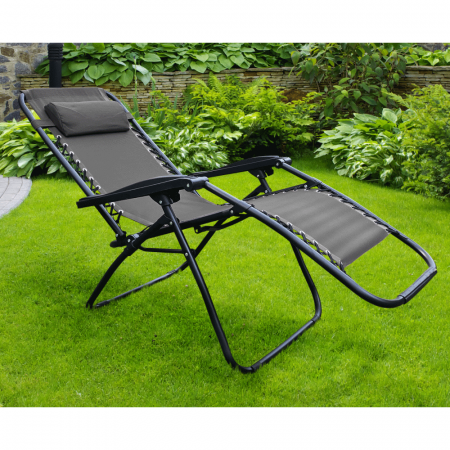 Şezlong de grădină reglabil, negru, GERALD16