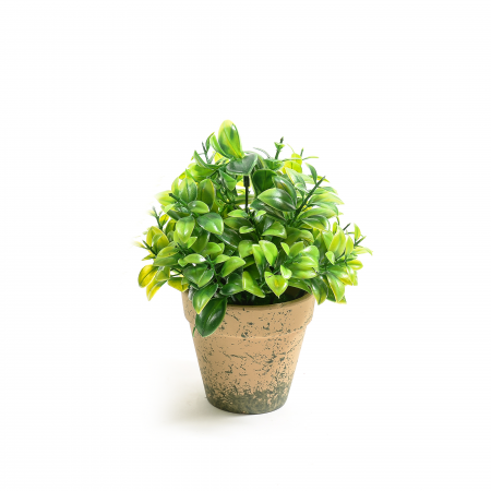 Ghiveci flori verzi artificiale diametru 9 cm, inaltime 21 cm