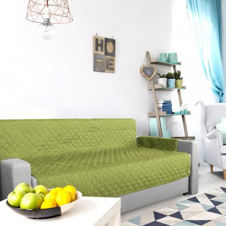 Husa pentru canapea 3 locuri matlasata cu doua fete, Olive / Vanila5