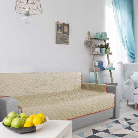Husa pentru canapea 3 locuri matlasata cu doua fete, Coral / Vanila - Expomob [5]