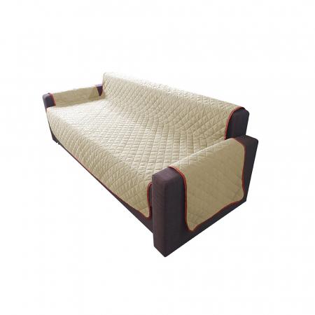 Husa pentru canapea 3 locuri matlasata cu doua fete, Coral / Vanila - Expomob [1]