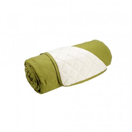 Husa pentru canapea 3 locuri matlasata cu doua fete, Olive / Vanila2