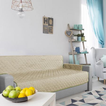 Husa pentru canapea 3 locuri matlasata cu doua fete, Olive / Vanila4