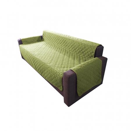 Husa pentru canapea 3 locuri matlasata cu doua fete, Olive / Vanila0