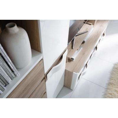 Living PASSIONATA cu Lumini, PAL stejar SR + MDF alb lucios, 300x60x198 cm4