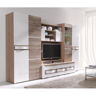 Living PASSIONATA cu Lumini, PAL stejar SR + MDF alb lucios, 300x60x198 cm0