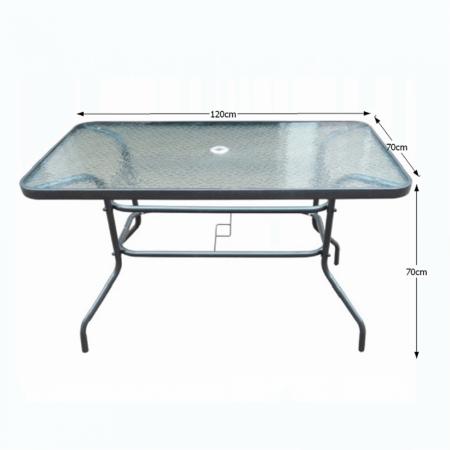 Masă dining cu loc pentru umbrelă, sticlă întărită/oţel, DEMAT NEW - Expomob [2]