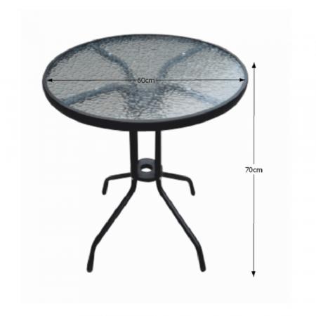 Masă grădină, oţel negru/sticlă securizată, BORGEN TYP 12
