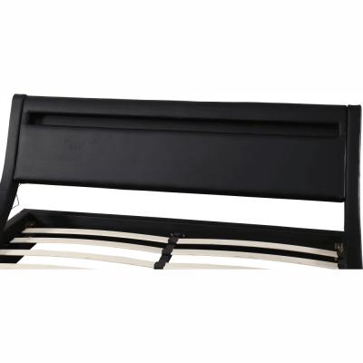Pat matrimonial FELINA 160x200 cu iluminare RGB LED, negru4