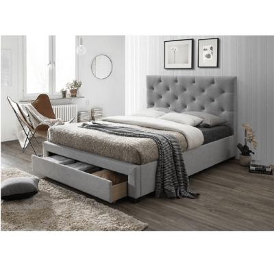 Pat modern cu tăblie matlasată SANTOLA 180x200, cu spaţiu pentru depozitare, textil gri1