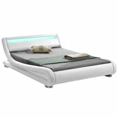Pat modern FILIDA 160x200 cu RGB LED iluminare, alb0