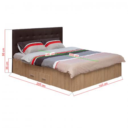 Pat Ofelia II 140x200 cu sertar pentru dormitor - ExpoMob [3]