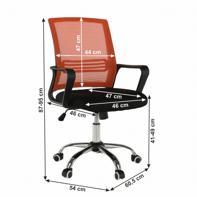 Scaun de birou, mesh portocaliu/material textil negru, APOLO8