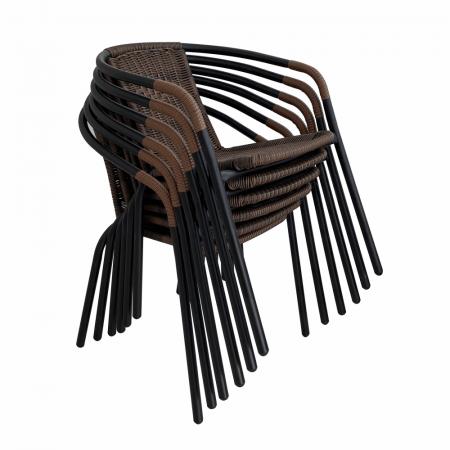 Scaun stivuibil, răchită sintetică maro/metal negru, DOREN3