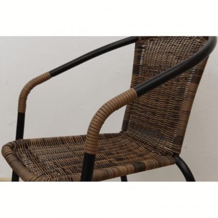 Scaun stivuibil, răchită sintetică maro/metal negru, DOREN6