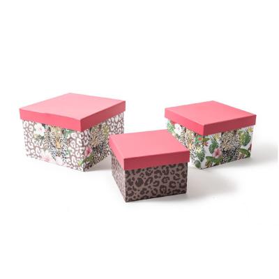 Set 3 cutii patrate SAFARI, 17x17 cm, inaltime 11.5 cm