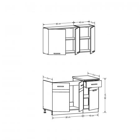 Set Bucatarie YASMIN L 120, sonoma inchis/deschis, blat termorezistent2