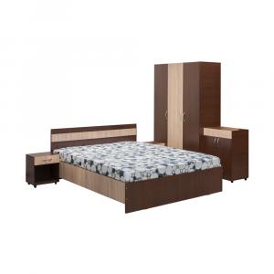 Set Dormitor CORINA, Dulap 3 usi, Pat 160x200, 2 noptiere cu sertar si comoda TV0