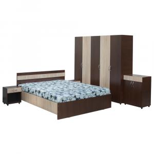 Set Dormitor CORINA, Dulap 5 usi, Pat 160x200, 2 noptiere cu sertar si comoda TV0