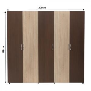 Set Dormitor CORINA, Dulap 5 usi, Pat 160x200, 2 noptiere cu sertar si comoda TV1