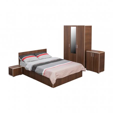 Set Dormitor CORINNE, Dulap 3 usi, Pat 160x200, 2 noptiere si comoda0