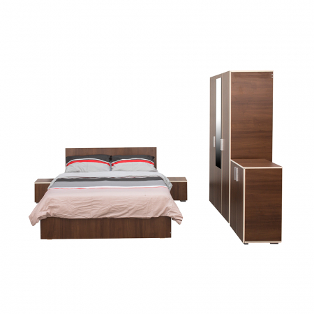 Set Dormitor CORINNE, Dulap 3 usi, Pat 160x200, 2 noptiere si comoda1