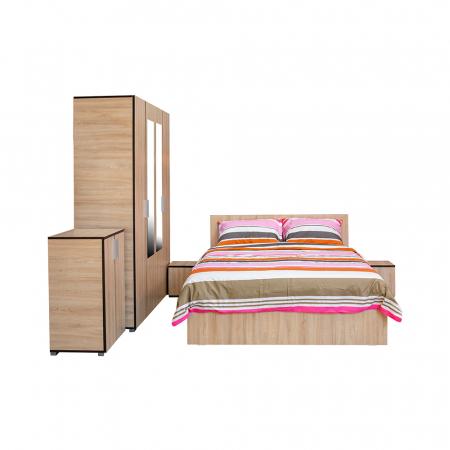 Set Dormitor CORINNE, Dulap 4 usi, Pat 140x200, 2 noptiere si comoda1