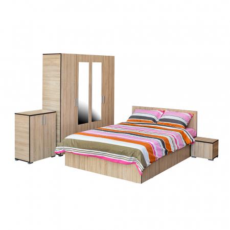 Set Dormitor CORINNE, Dulap 4 usi, Pat 140x200, 2 noptiere si comoda0